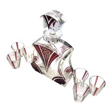 Karl Palda Haida Art Deco Decanter ruby red enamel Glass Bottle Liqueur Set Intaglio Cut