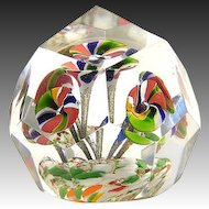 Antique Bohemian Czech Faceted Flower Crystal Glass Paperweight c. 1900