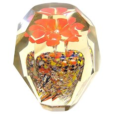 Vintage Bohemian Czech Faceted Flower Crystal Glass Paperweight c. 1920s