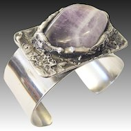 Bracelet Bangle signed WA Danish Design Amethyst polished metal, heavy silver plated