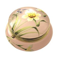 Victorian Enamel Painted Hinged Pink Glass Box