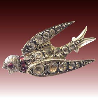 Antique Victorian silver paste swallow brooch