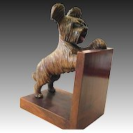 One single Art Deco bookend Bakelite West Highland White Terrier wood dog