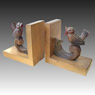 Art Deco bookends carved bird figures in wood