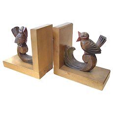 Art Deco bookends carved bird figures in wood