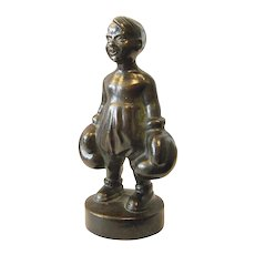 Humorous Art Deco Bronze Figure Boy with Boxer Gloves  signed Tinos Kongslev  Denmark 20s