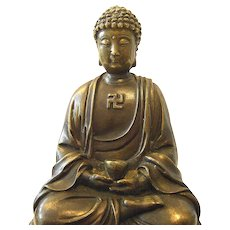 Antique Sitting Buddha Bronze Figure with Swastika