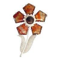 gorgeous large Art Deco Scottish Agate Silver Brooch Flower rare