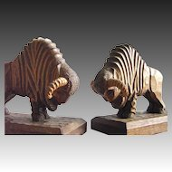 Art Deco wood bookends Bison Wisent carved from 1930s
