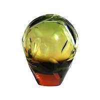 Sommerso Crystal Glass Vase WMF green red