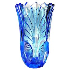Art Deco Bohemian Czech Cobalt Blue Crystal Art Glass Vase 30s Toothed Edge