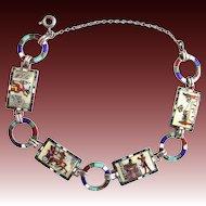 Egyptian Revival Enamel 935 Silver Link Bracelet c. 1920s Scenes