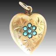 Antique Victorian Pendant Heart Turquoise 800 Silver gilt Charms c. 1860