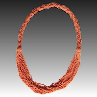 Art Deco Edwardian Coral Necklace seed bead multi strand chain