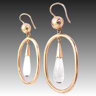 Gorgeous vintage 14ct 585 Red Gold Earrings with Rock Crystal Drop