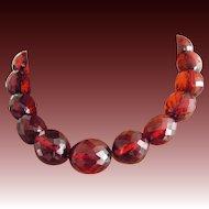 Cherry Red Amber Bakelite Necklace 20s cut translucid