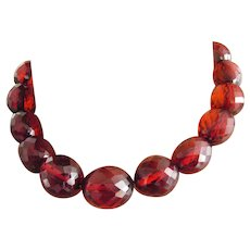 Cherry Red Amber Bakelite Necklace 20s cut translucid