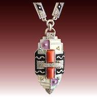 Gorgeous rare Art Deco Silver Enamel Necklace Fahrner inspired gilt Original 30s