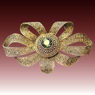 Art Deco Silver Loop Flower Brooch Theodore Fahrner gilt tourmaline colored Stone