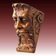 Antique Hand Carved Bacchus Console Figural Carving Nut wood Historism c. 1850