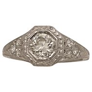 .61ct. Diamond & Platinum Art Deco Engagment Ring W/G.I.A. Certificate- J34225