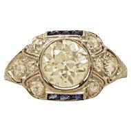 1.50ct. Diamond, Sapphire & Platinum Art Deco Engagement Ring- J34293