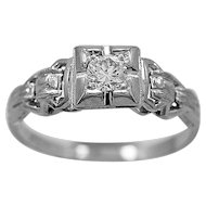 Antique Engagement Ring .18ct. Diamond & 18K White Gold Art Deco - J35619