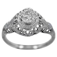 Antique Engagement Ring .60ct. Diamond & 18K White Gold Art Deco - J35620