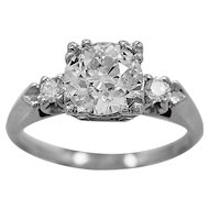 Antique Engagement Ring 1.25ct. Diamond & Platinum Art Deco - J35804