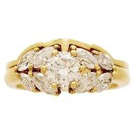 .60ct. Diamond & 18K Yellow Gold Vintage Estate Engagement Ring Set - J32745