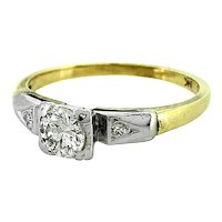 Art Deco .37ct. Diamond Engagement Ring White & Yellow Gold - J33306