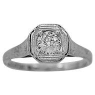 Antique Engagement Ring .50ct. Diamond & 18K White Gold Edwardian - J34018