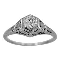 Antique Engagement Ring .25ct. Diamond & 18K White Gold Edwardian- J34028