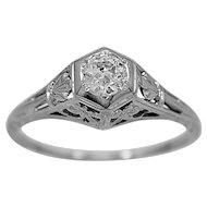Antique Engagement Ring .25ct. Diamond & 18K White Gold Edwardian- J34028