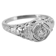 Antique Engagement Ring .31ct. Diamond & 18K White Gold Art Deco- J34132