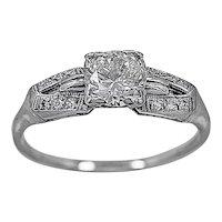 Antique Engagement Ring .75ct. Diamond & Platinum Art Deco- J34137
