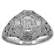 Antique Engagement Ring .65ct. Diamond & 18K White Gold Edwardian- J34156