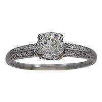 .67ct. Diamond & Platinum Art Deco Engagement Ring - J34179