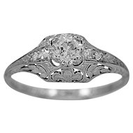 Antique Engagement Ring .46ct. Diamond & Platinum Art Deco - J34182