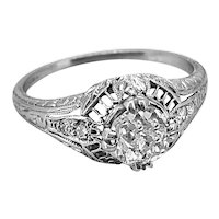 .71ct. Diamond & Platinum Art Deco Engagement Ring With G.I.A. Certificate - J34194