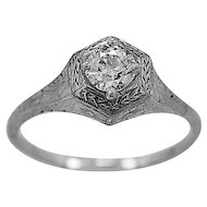 Antique Engagement Ring .42ct. Diamond & 18K White Gold Edwardian- J34196