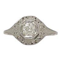 .38ct. Diamond & 18K White Gold Art Deco Engagement Ring - J34269