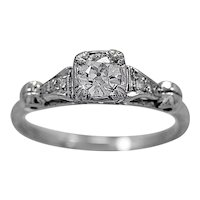 Antique Engagement Ring .30ct. Diamond & 18K White Gold By Columbia- J34304