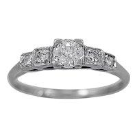 Antique Engagement Ring.37ct. Diamond & Platinum Art Deco- J34332