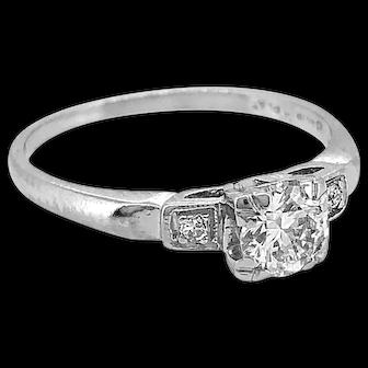 .40ct. Diamond & Platinum Art Deco Antique Engagement Ring -J34333