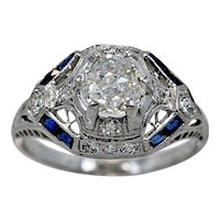 1.00ct. Diamond, Sapphire, & Platinum Art Deco Antique Engagement Ring - J34337