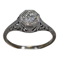 .23ct. Diamond & 18K White Gold Art Deco Engagement Ring- J34387