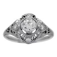 Antique Engagement Ring By Lamberts .74ct. Diamond & Platinum Art Deco- J34390