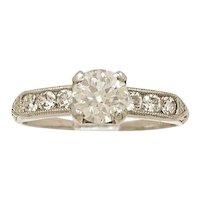 .65ct. Diamond & Platinum Art Deco Engagement Ring- J34420