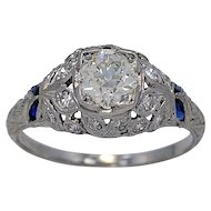 Antique Engagement Ring .83ct Diamond Sapphire Diamond Deco - J34538